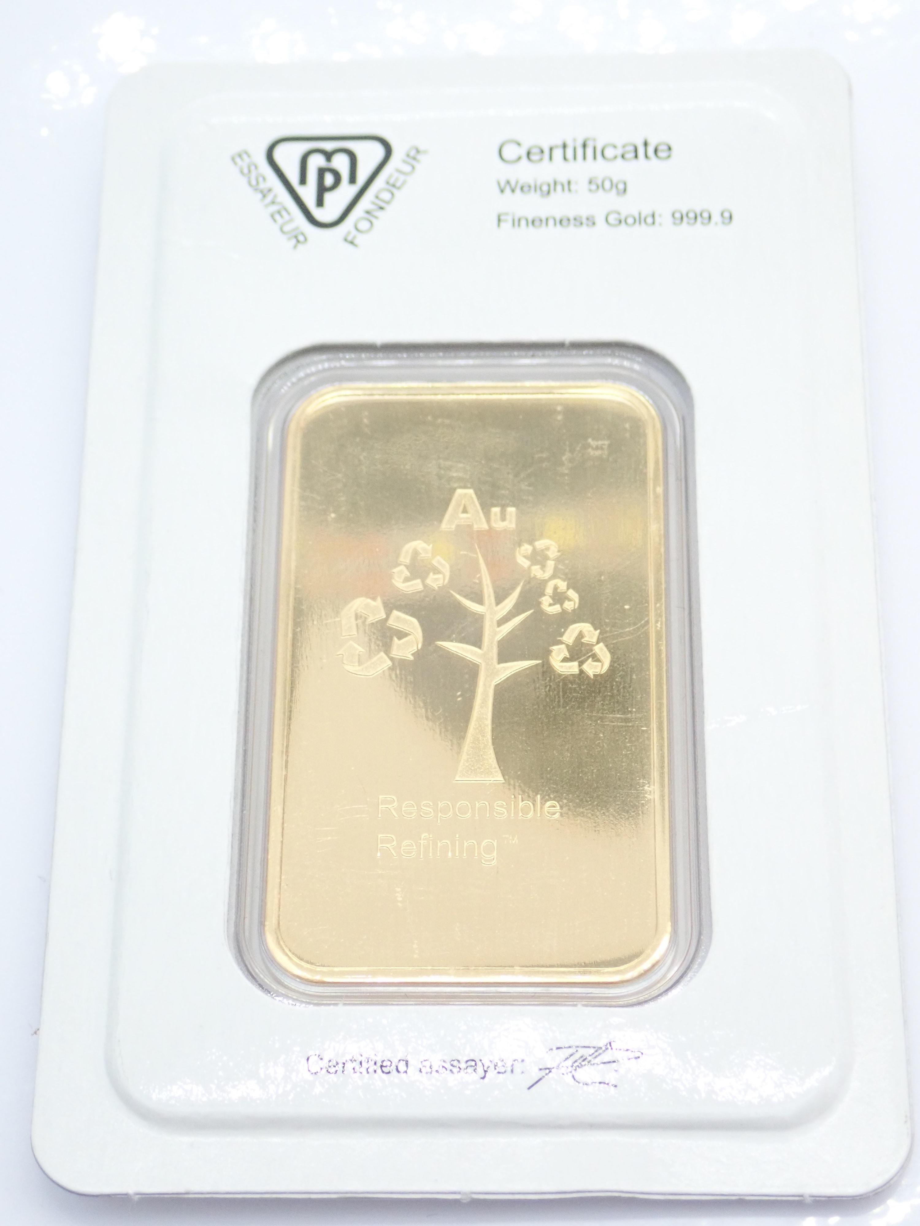 AA000816 1 - 50 gram Swiss Metalor 24 Carat Fine Gold 999.9  #