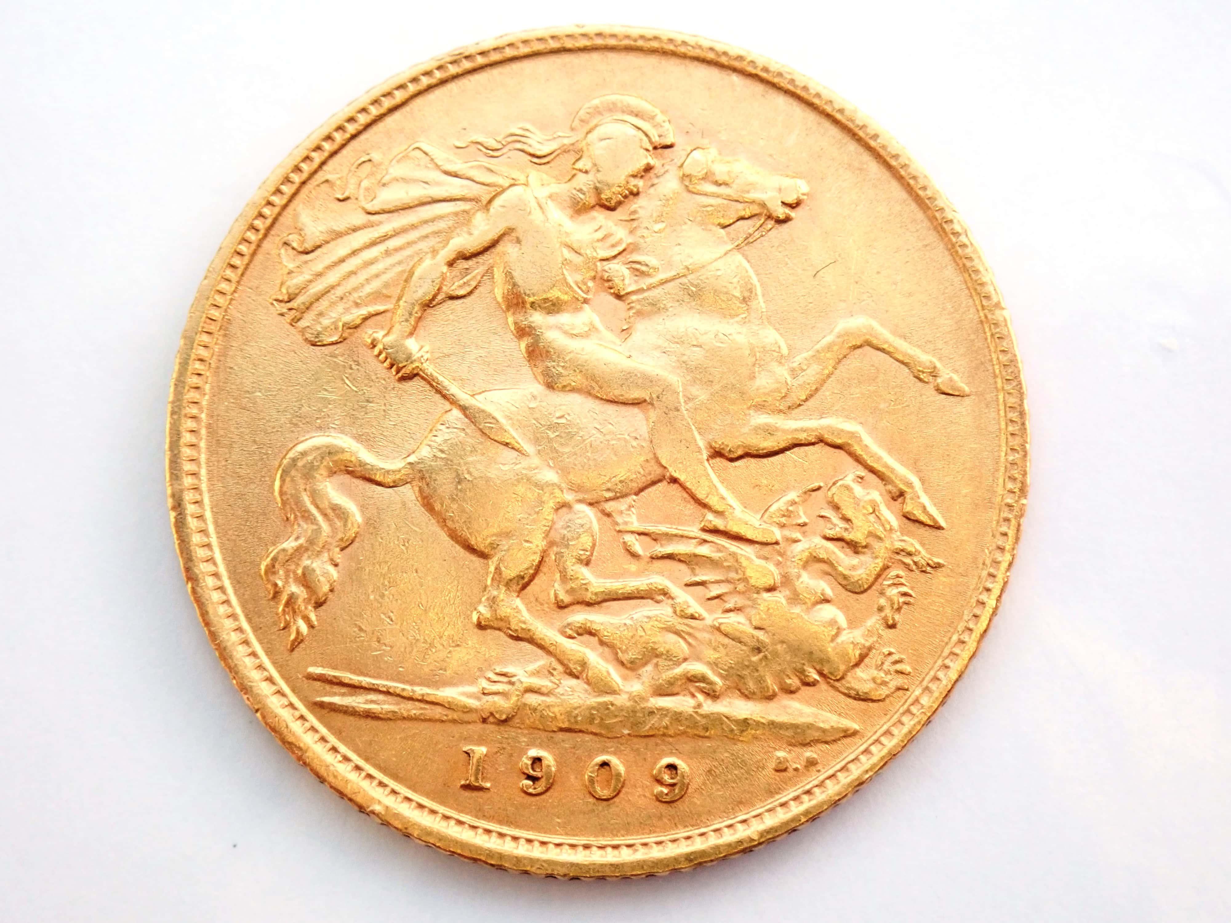 AA000818 - 1909 22ct Gold Half Sovereign King Edward VII Coin London Mint A.U #195