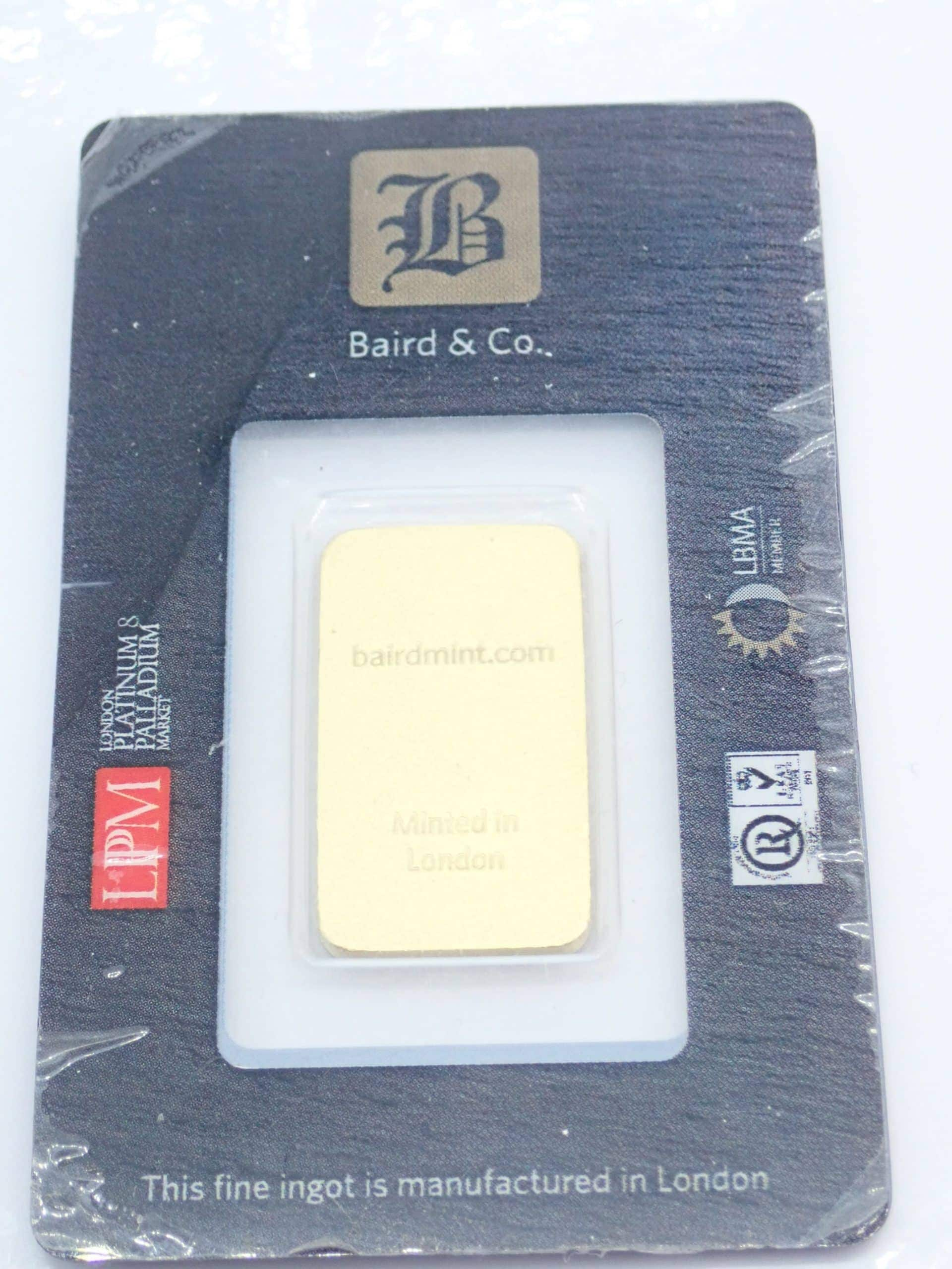 20 gram Baird and Co Fine Gold Bar 24 Carat 999.9 Bullion #