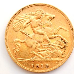 1913 Gold Half Sovereign Coin – King George V- London Mint #a193
