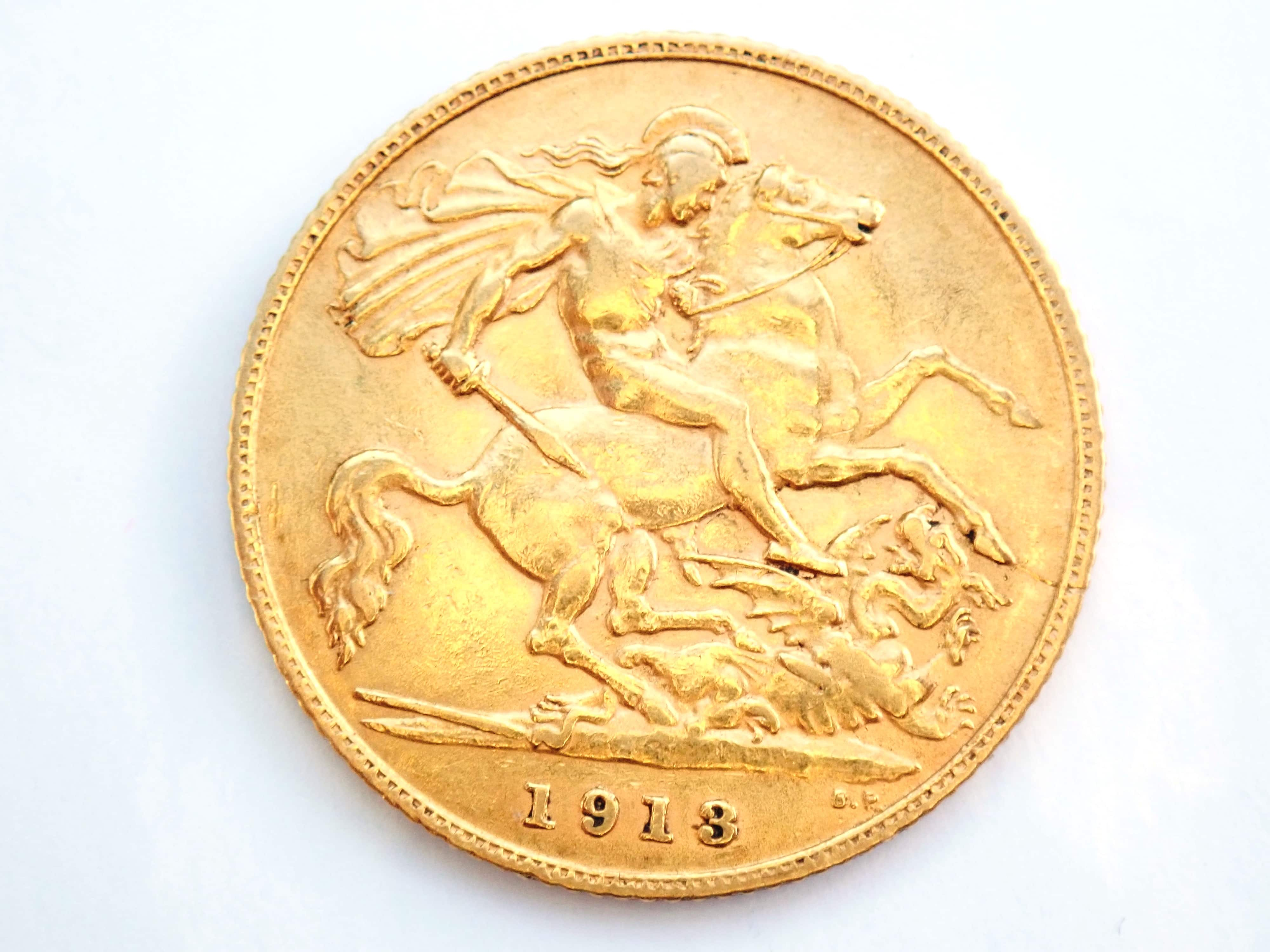 AA000824 - 1913 Gold Half Sovereign Coin - King George V- London Mint #b193