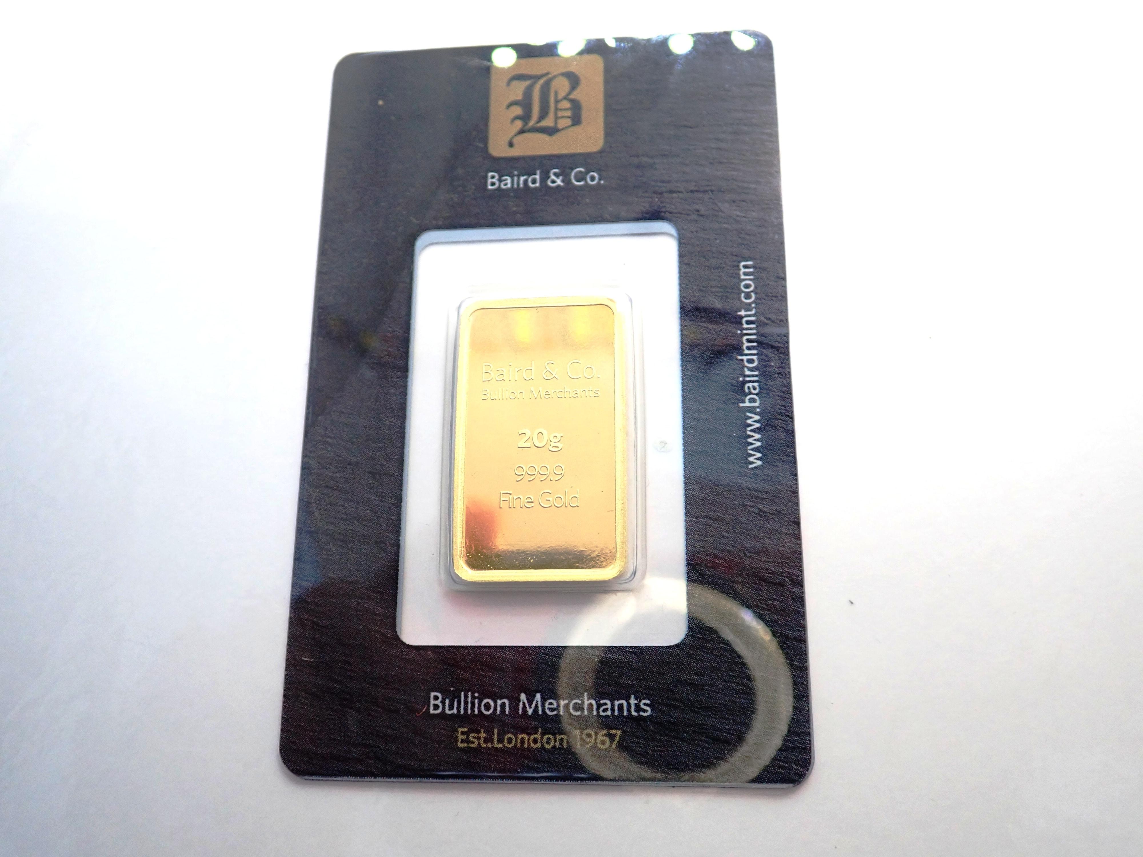 AA000852 - 20 gram Baird and Co Fine Gold Bar 24 Carat 999.9 Bullion #