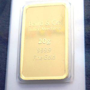 20 gram Baird and Co Fine Gold Bar 24 Carat 999.9 Bullion #