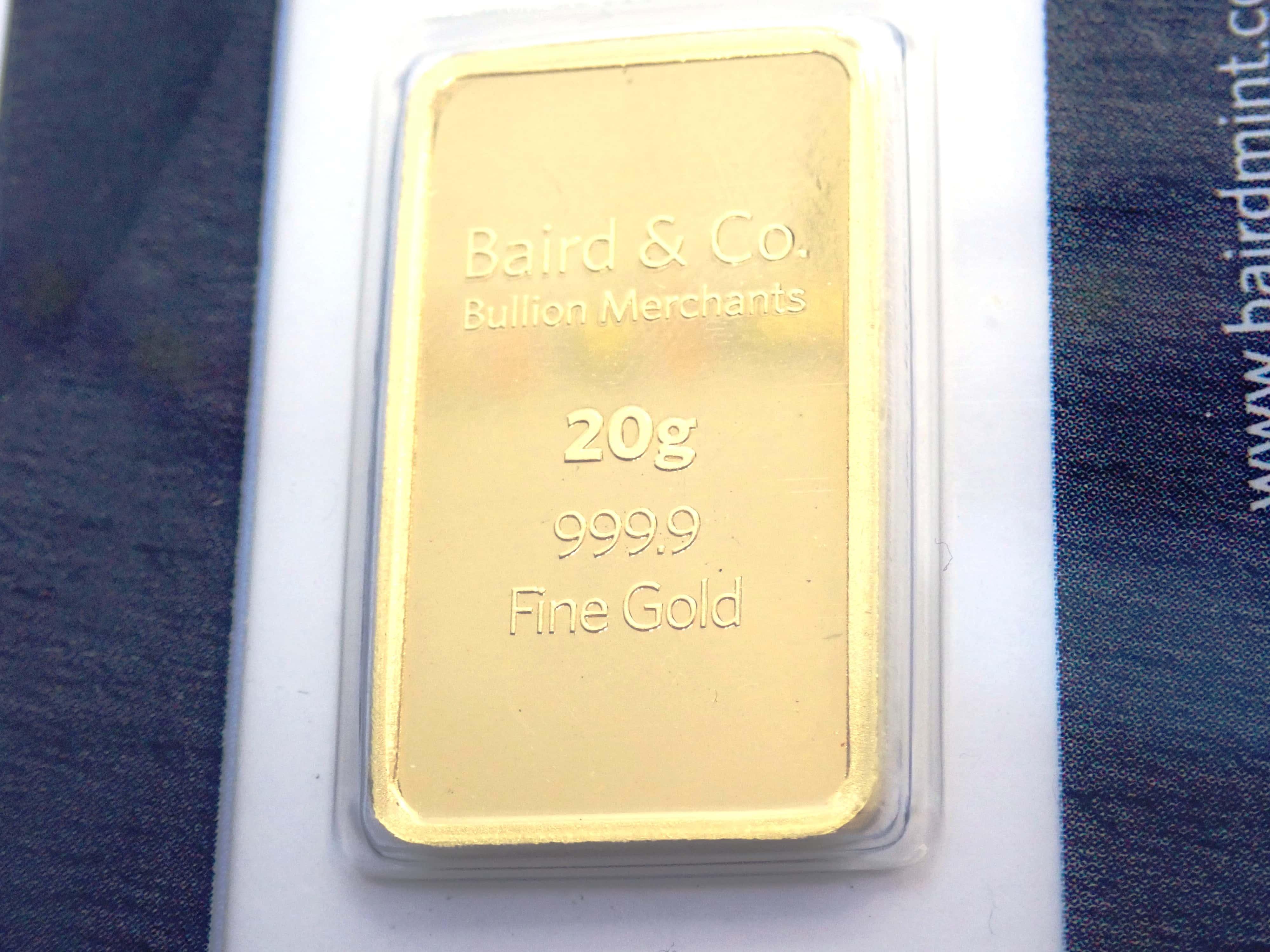 AA000853 - 20 gram Baird and Co Fine Gold Bar 24 Carat 999.9 Bullion #