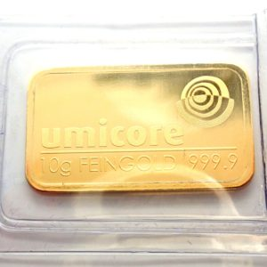 10 gram Umicore Fine Gold Bar 24 Carat 999.9 Bullion  #