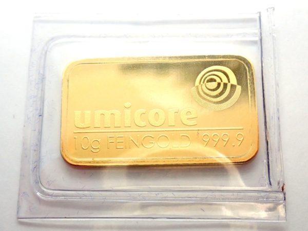 10 gram Umicore Fine Gold Bar 24 Carat 999.9 Bullion  #