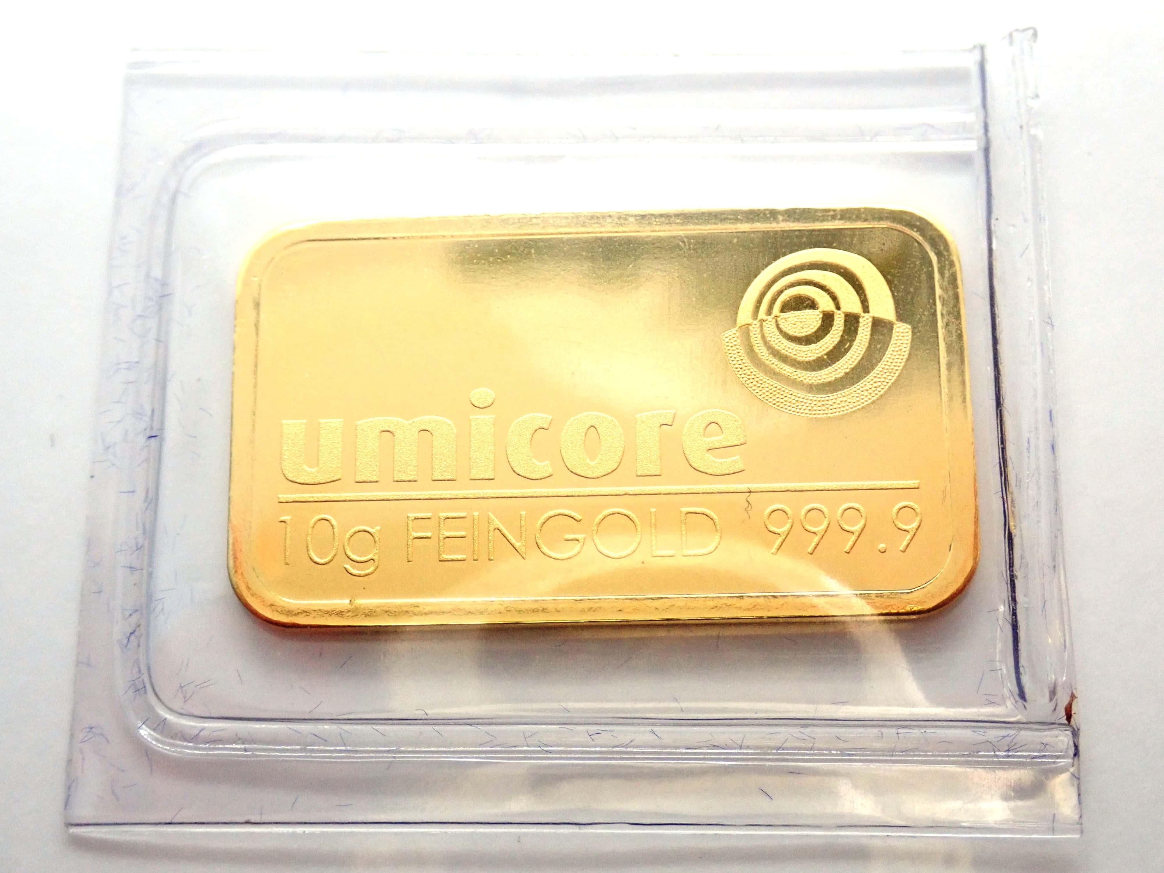 AA000855 - 10 gram Umicore Fine Gold Bar 24 Carat 999.9 Bullion  #