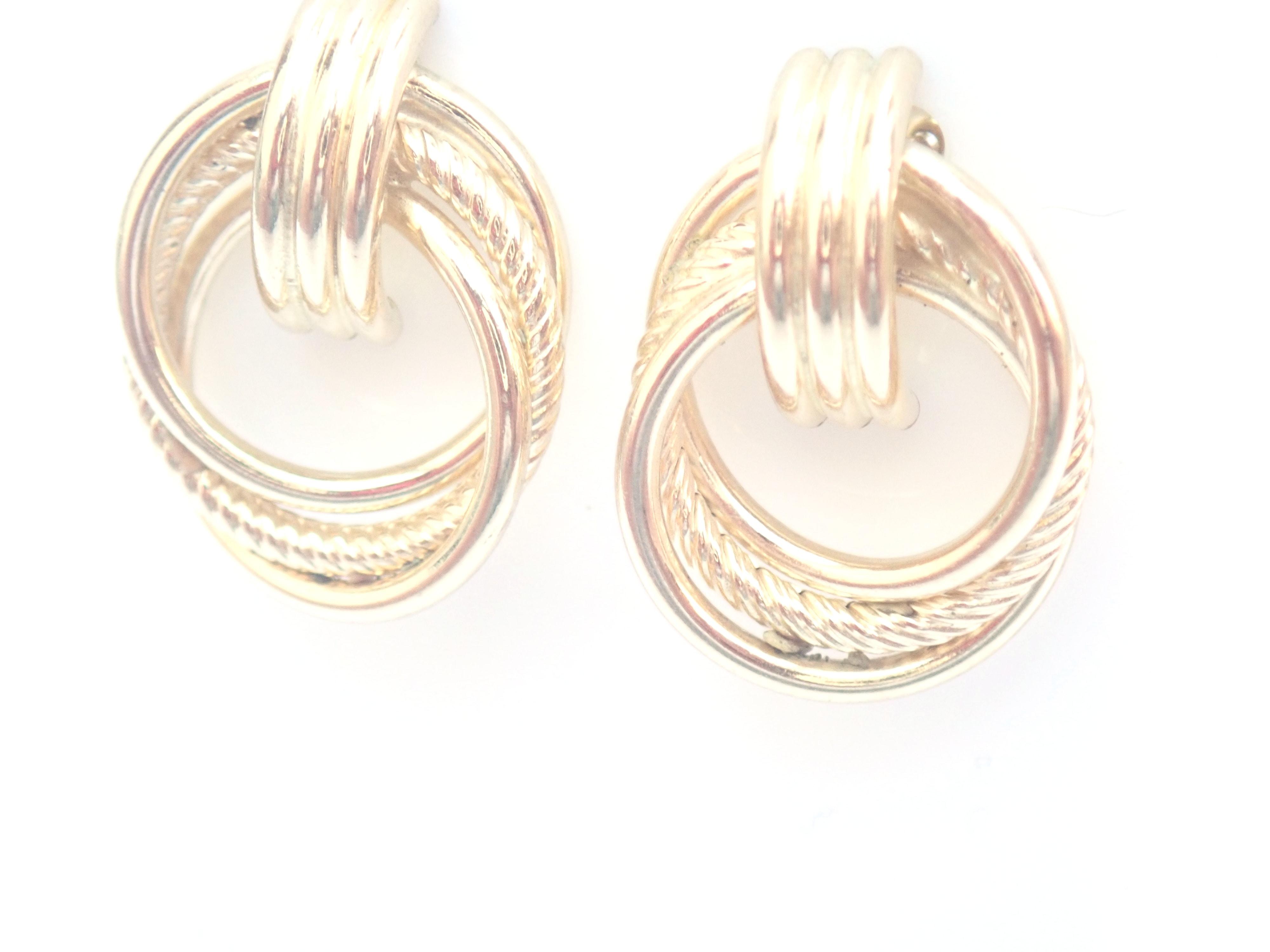 AZZ00486 - 9k 375 Yellow Gold Knot Dangly - Stud Earrings 1.8g #30