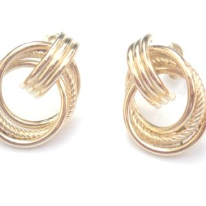 9k 375 Yellow Gold Knot Dangly – Stud Earrings 1.8g #30