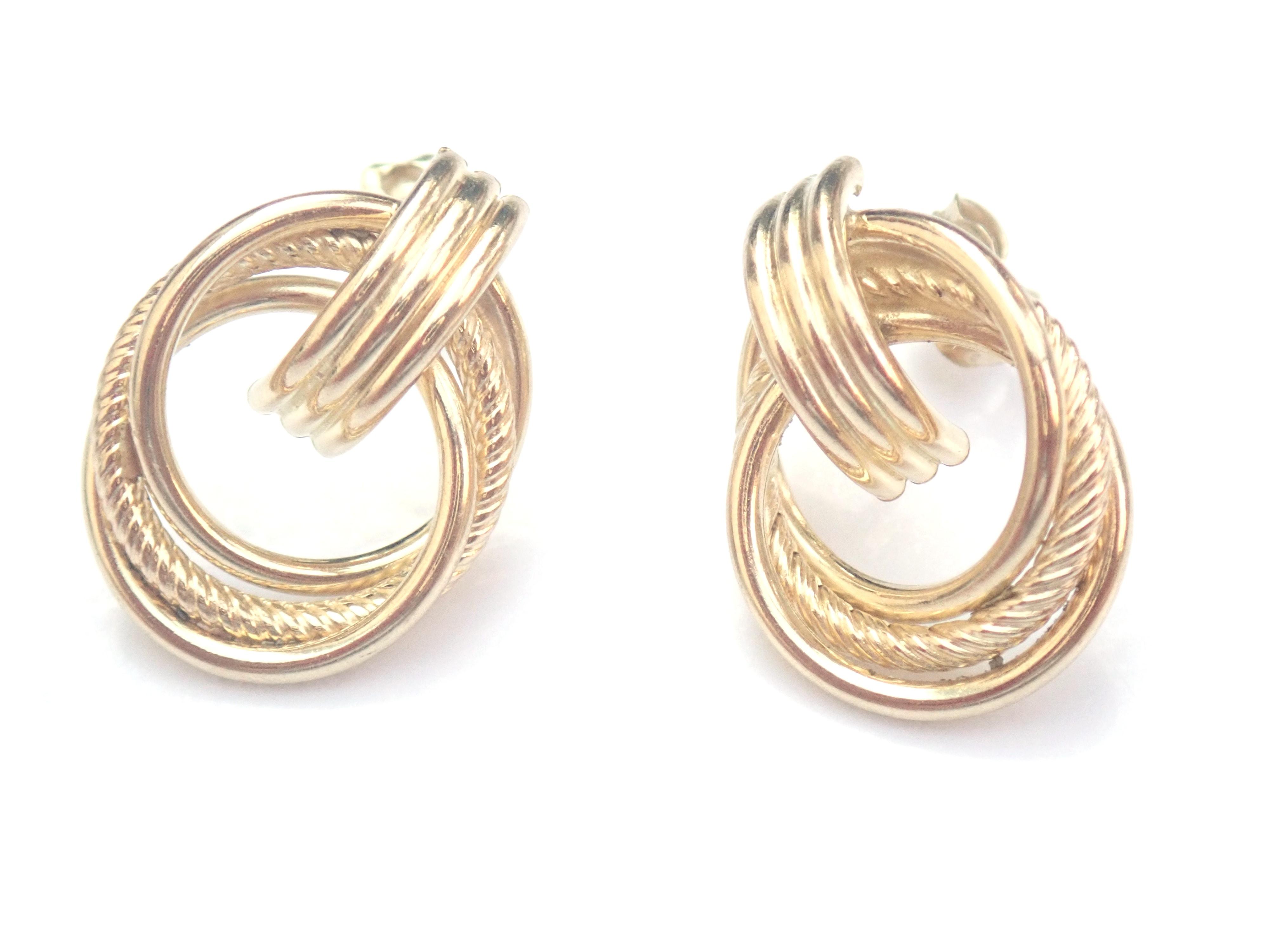 AZZ00488 - 9k 375 Yellow Gold Knot Dangly - Stud Earrings 1.8g #30