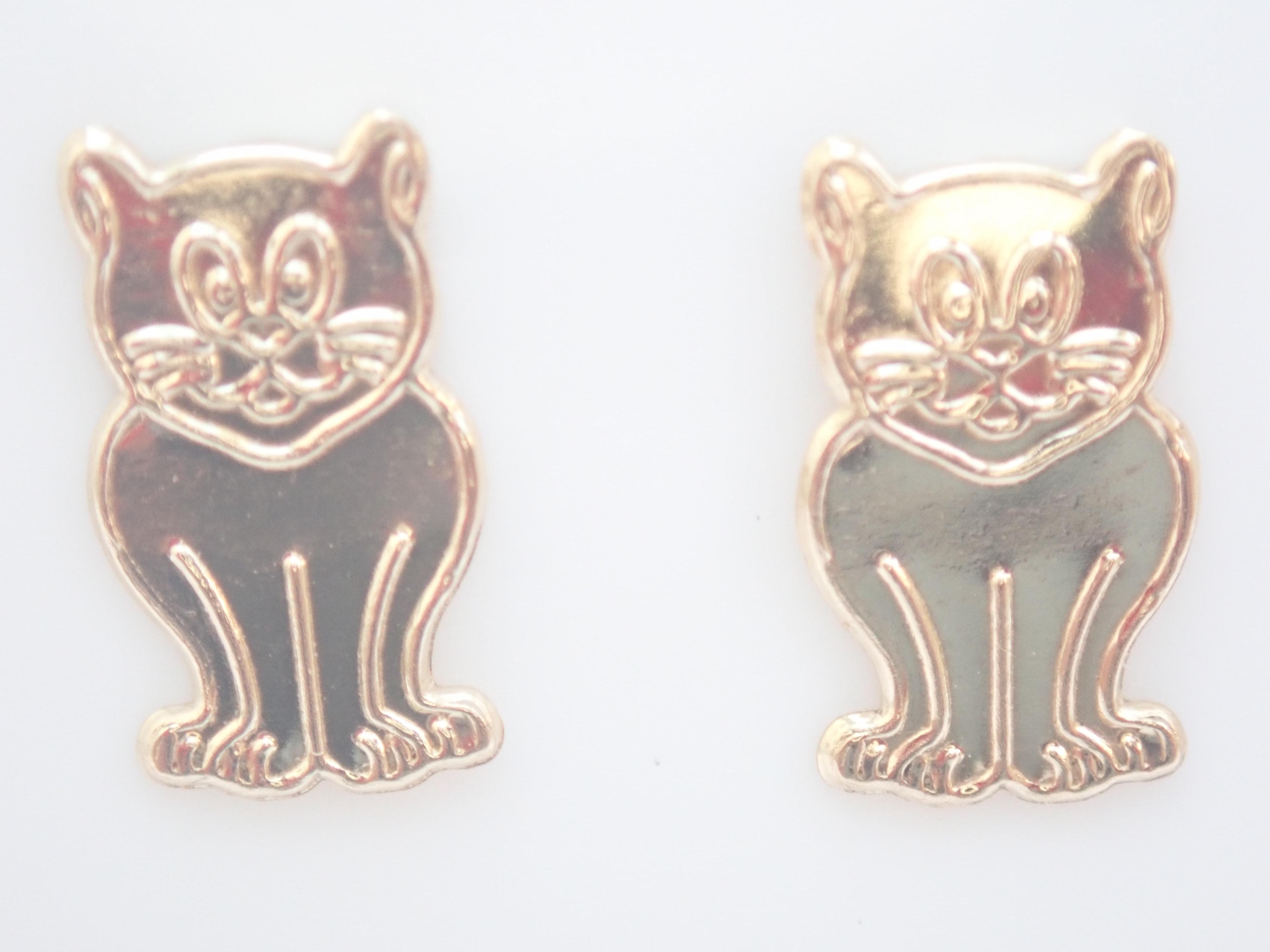AZZ00562 - 9k 375 Yellow Gold Sitting Cat Stud Earrings 0.5gms #8