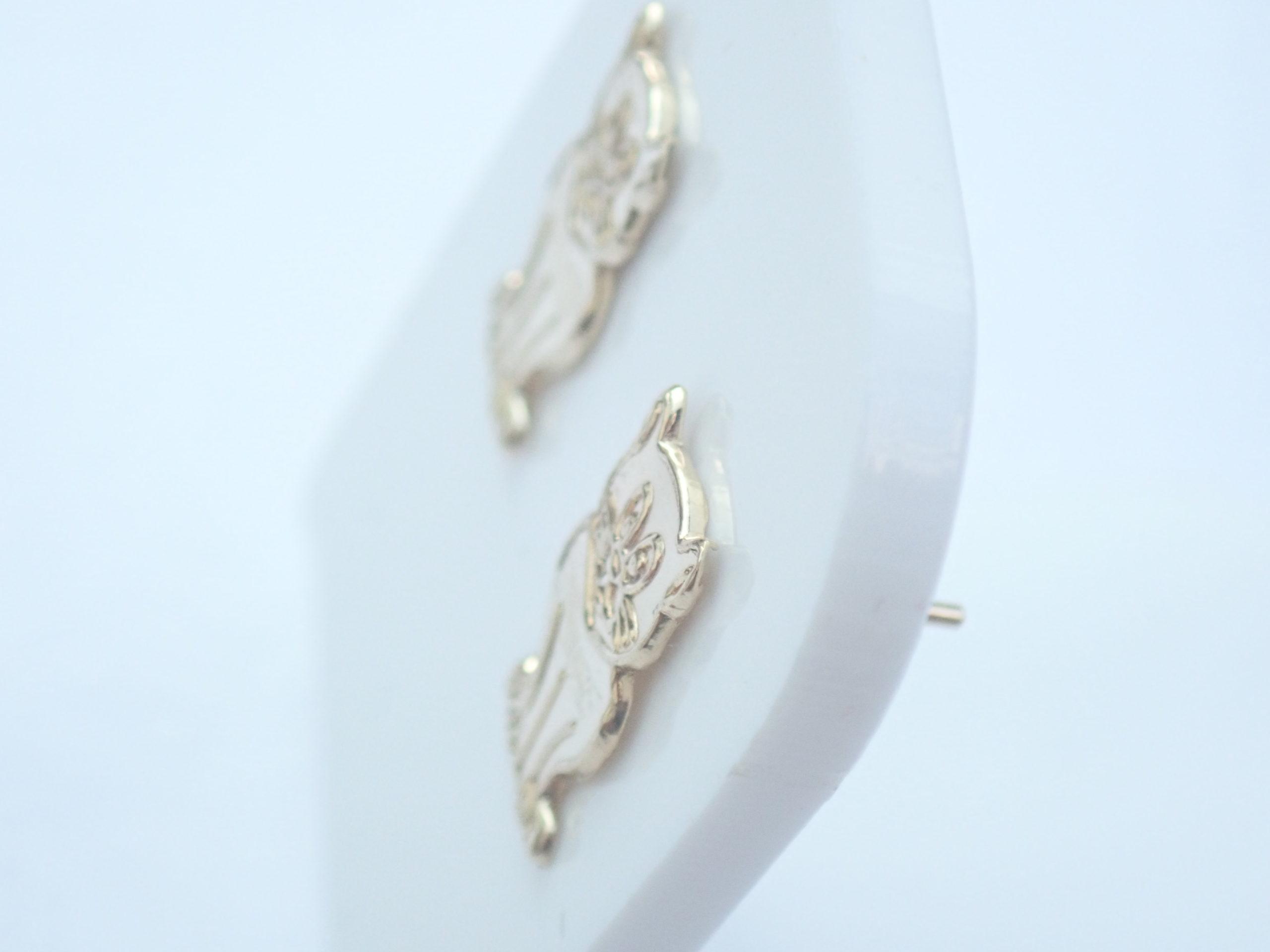 9k 375 Yellow Gold Sitting Cat Stud Earrings 0.5gms #8
