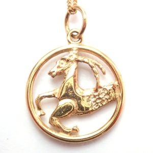 9k Solid Gold Aries Goat Star Sign Pendant – 18″ Curb Chain Not Scrap 1.6gms #30