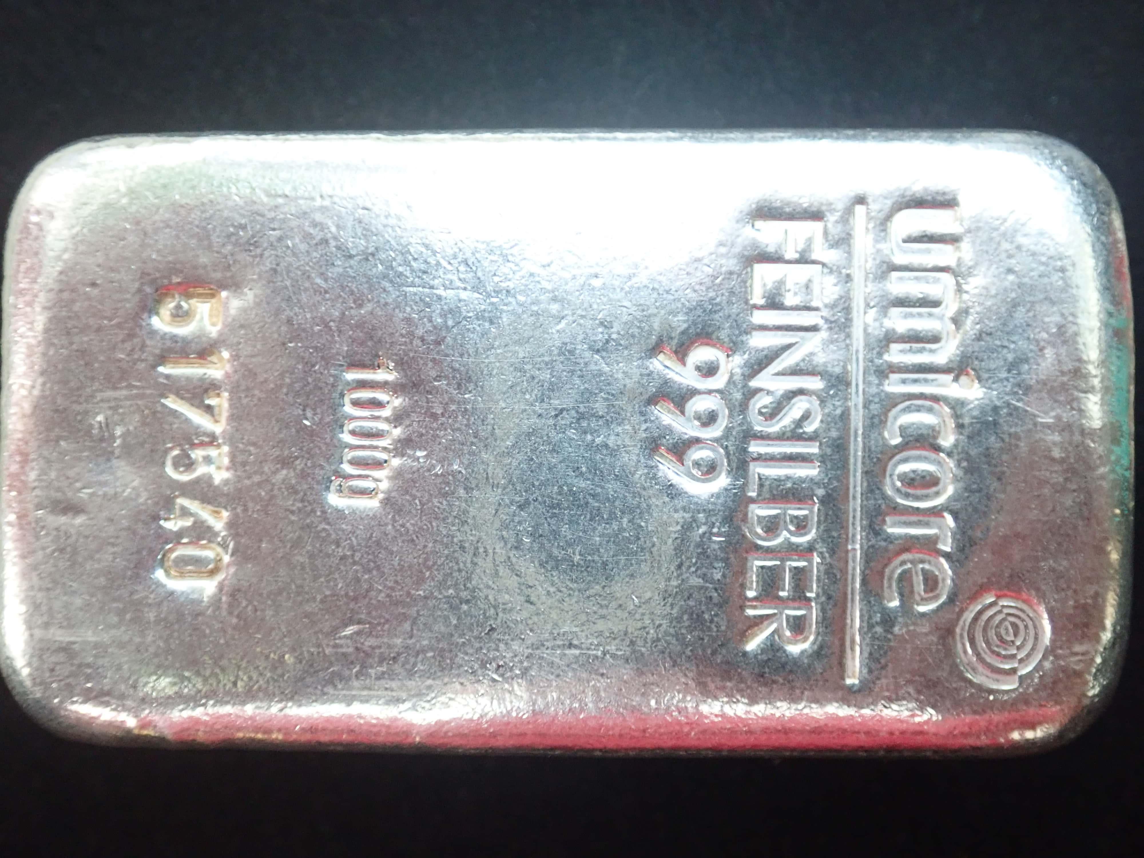AZZ00596 - 1000 Grams 999.0 Fine Silver Umicore 1kg Silver Bullion Bar