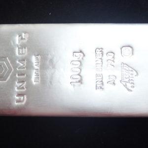Unimet 1000g / 1 Kilo  Fine Silver Ag 999.0 Cast Bar