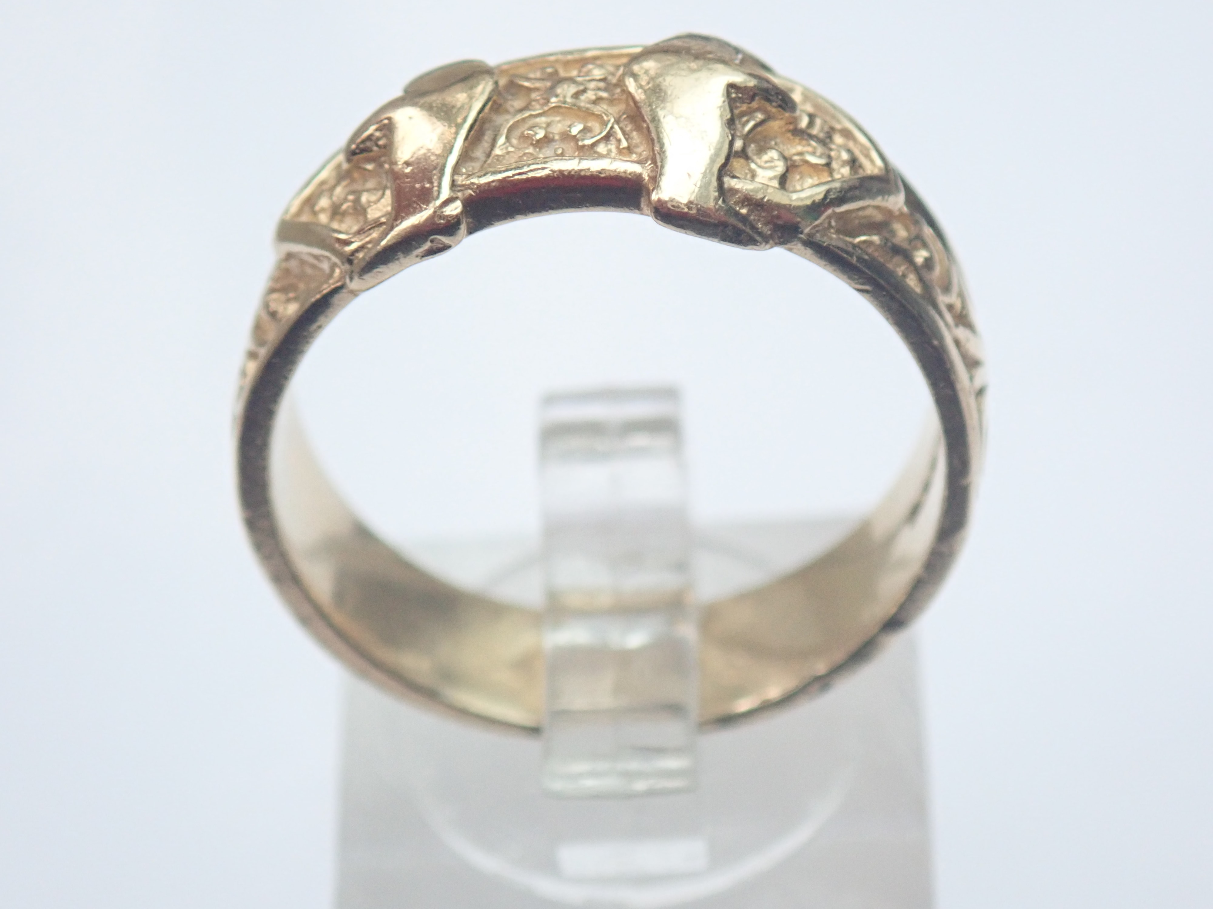 AZZ00611 - Vintage!! 9ct Gold Double Buckle Ring 6.3gms Size U1/2 #145