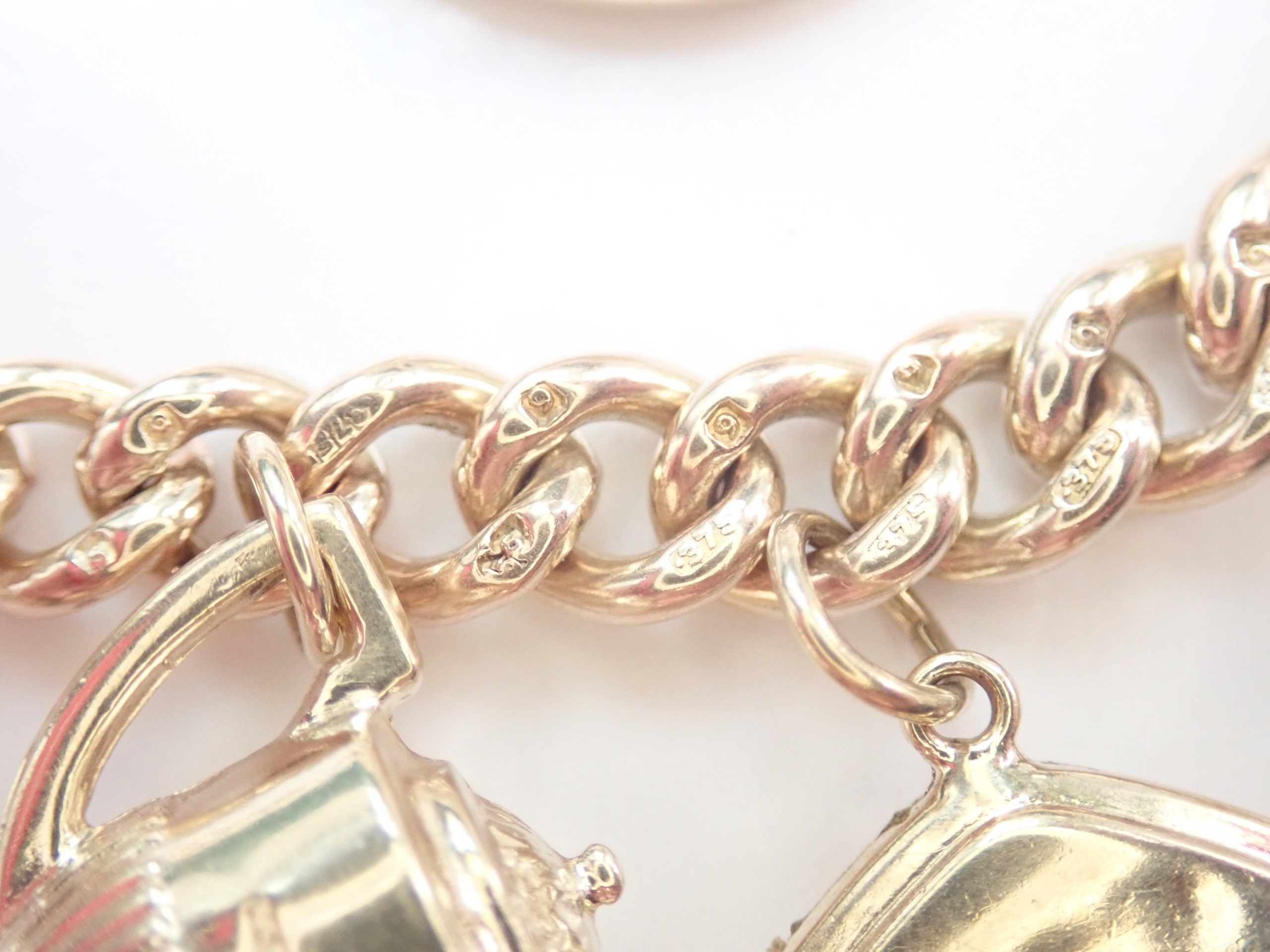 """AZZ00614 1 scaled - Heavy!! 50 grams 9k &22 Yellow Gold Curb Chain 12 Charms Bracelet 8"""" #1085"""
