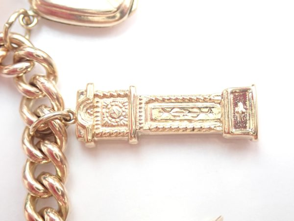 Heavy!! 50 grams 9k &22 Yellow Gold Curb Chain 12 Charms Bracelet 8″ #1085