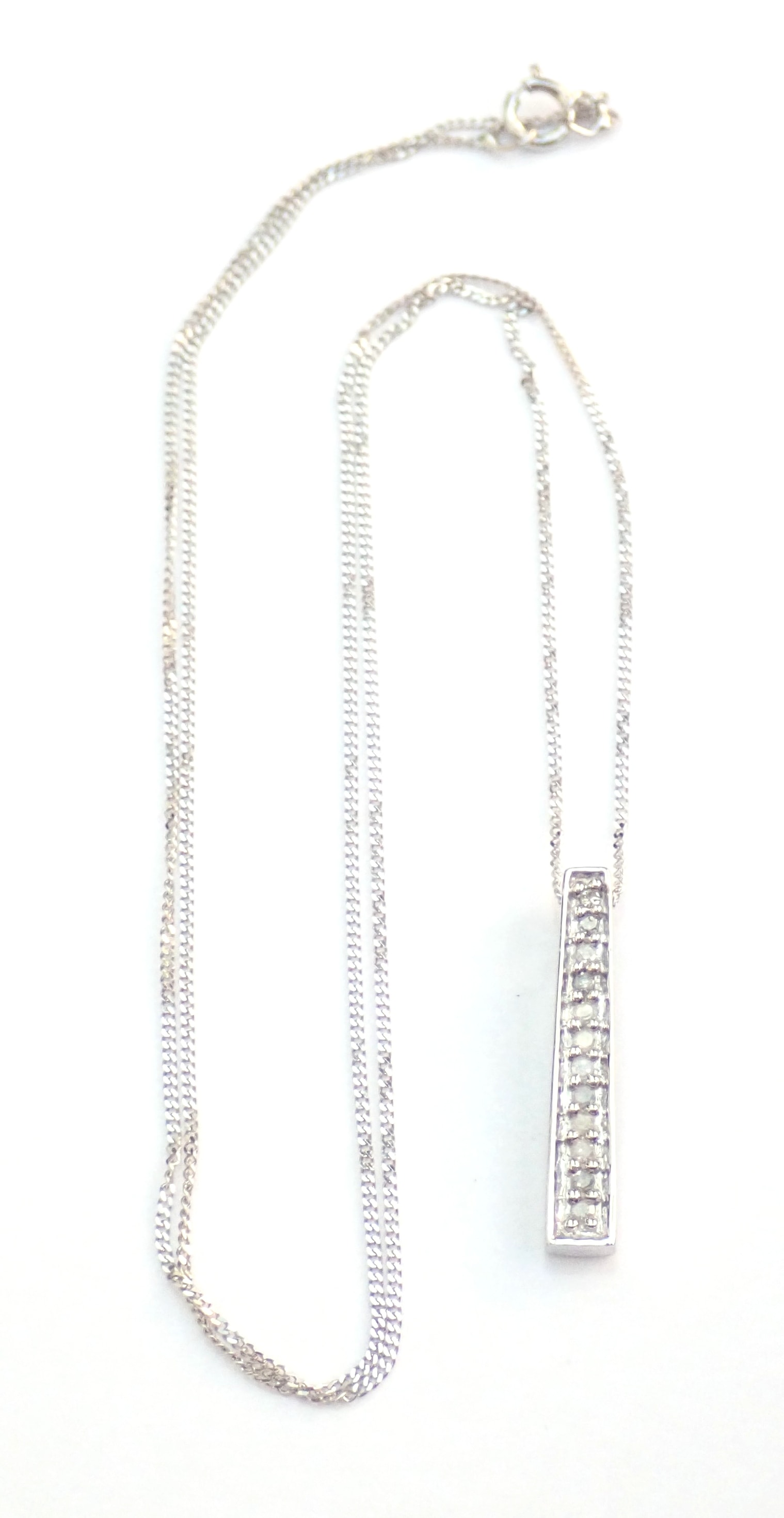 "AZZ00664 - Beautiful! Diamond Stick Pendant & 18"" Curb Chain 9 carat White Gold Fully Hallmarked #50"