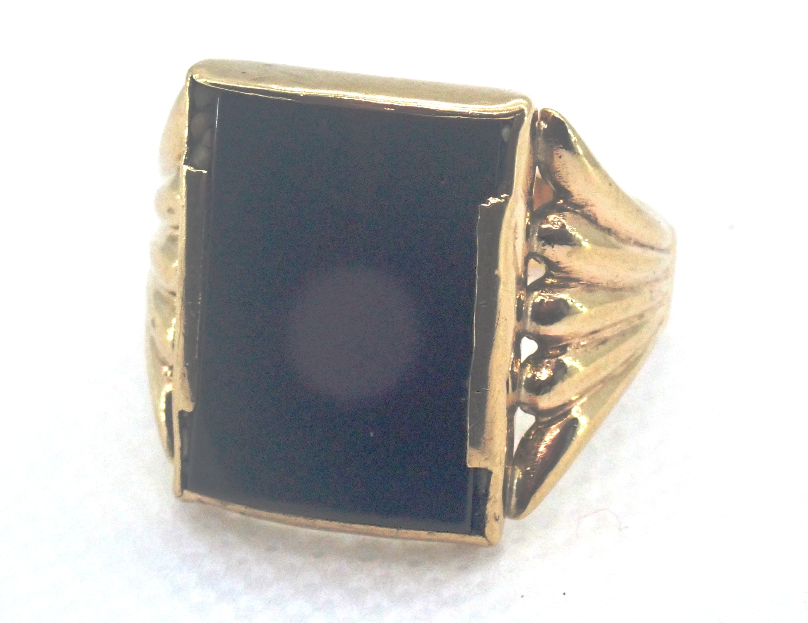 AZZ00693 - Beautiful!! Vintage Square Onyx 9 carat Gold Signet Ring - Size S1/2 - 5.5gms #011