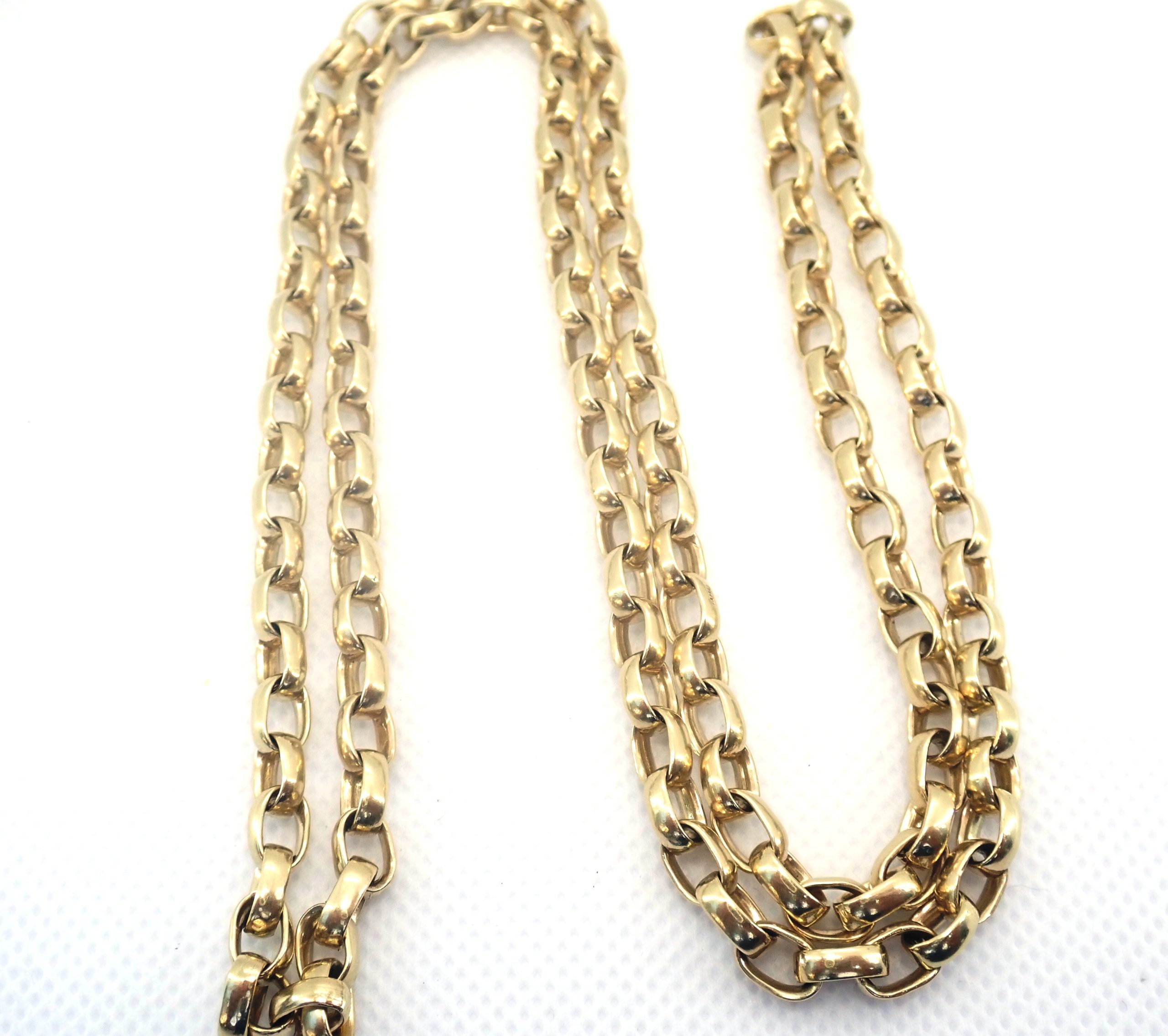 9ct Yellow Gold Belcher Rolo chain 51gms 28 Inch #0201