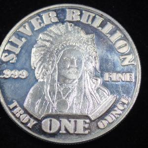 Fine .999 Silver 1oz Bullion Native Indian – Buffalo – Round 31.1gms #21