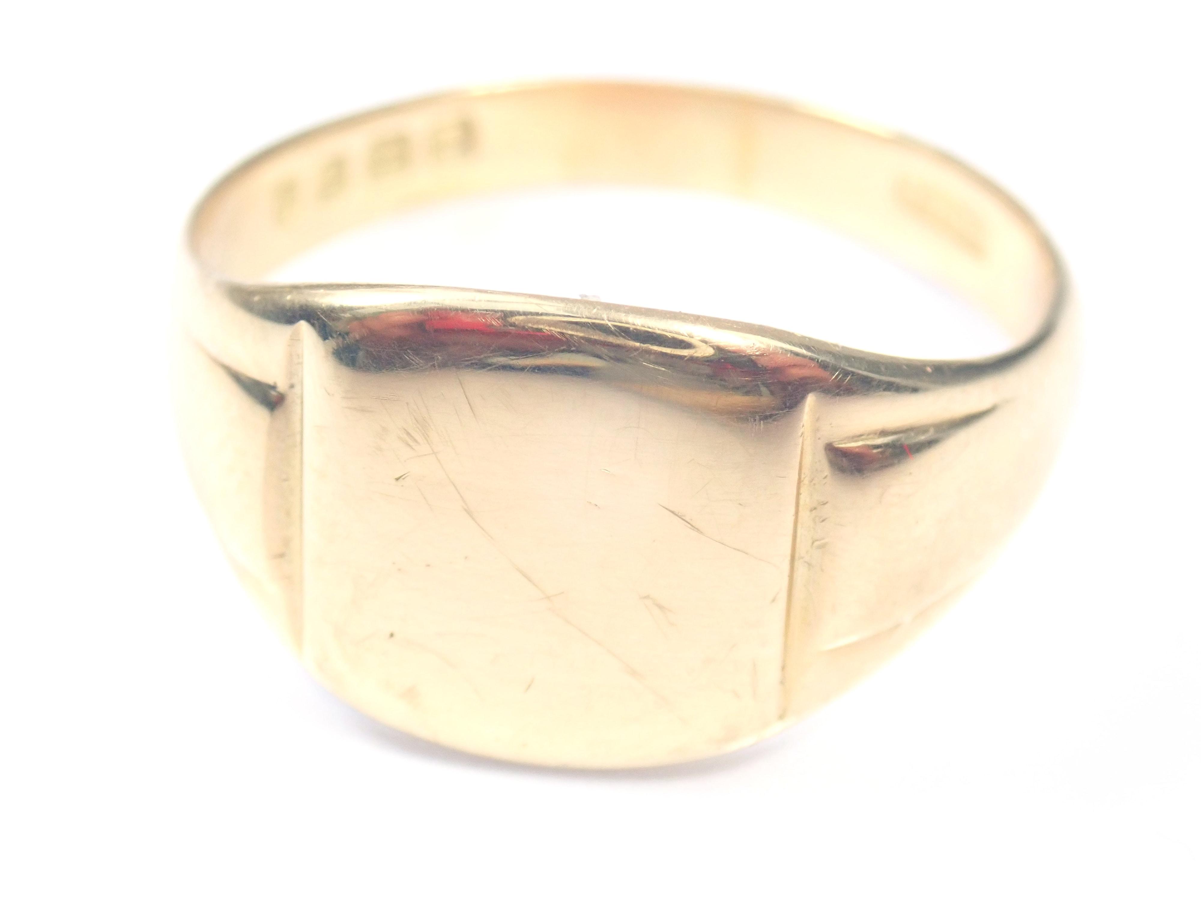 AZZ00873 1 - Beautiful!! Vintage Shield Solid 18 carat Gold Signet Ring - Size V - 6.95gms #150