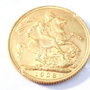 1908 22ct Gold Full Sovereign King Edward VII Coin A.U #553