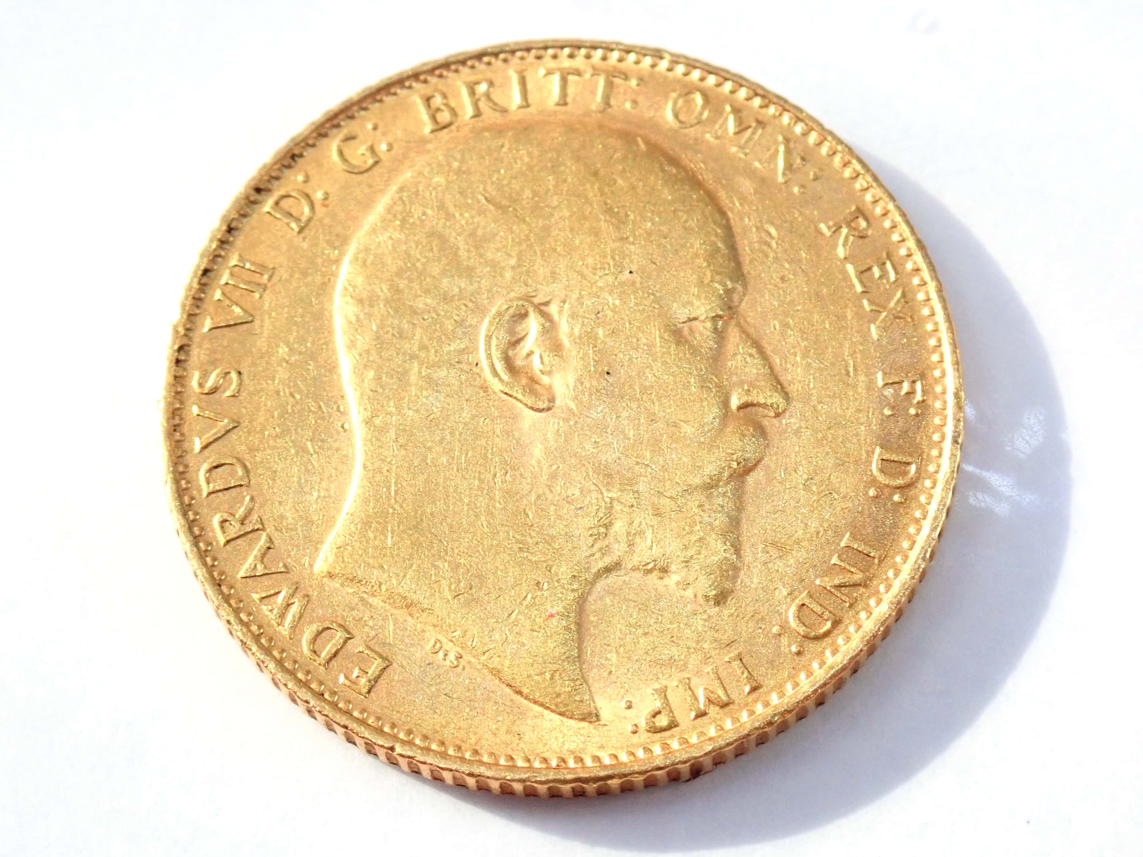 AZZ00874 3 - 1908 22ct Gold Full Sovereign King Edward VII Coin A.U #553