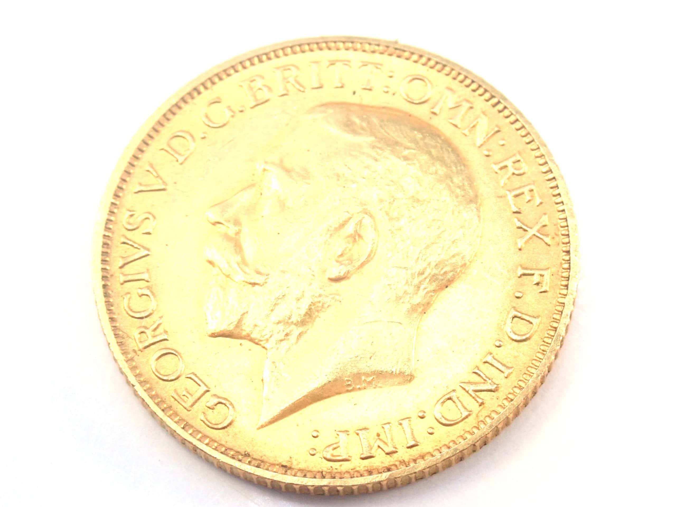 1925 22ct Gold Sovereign King George V Coin A.U #557