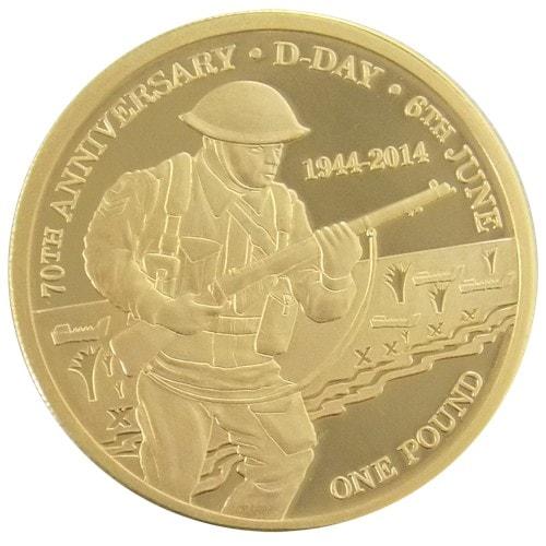 2014 Tristan da Cunha 70th Anniversary of D-Day £1 Gold Proof Coin #363