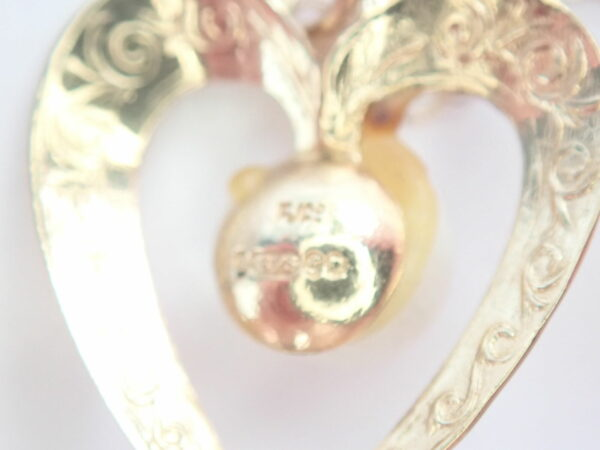 375 Yellow Gold Pearl Heart Pendant 16″ Anchor chain -1.25gms #18
