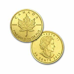 2015 1.0 gram 999.9 24k Gold Canadian Maple 50 cents Bullion Coin #