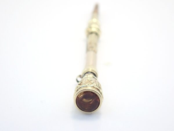 Antique Victorian Citrine Set Floral 9ct Gold Retractable Mechanical Pencil  3.2g #48