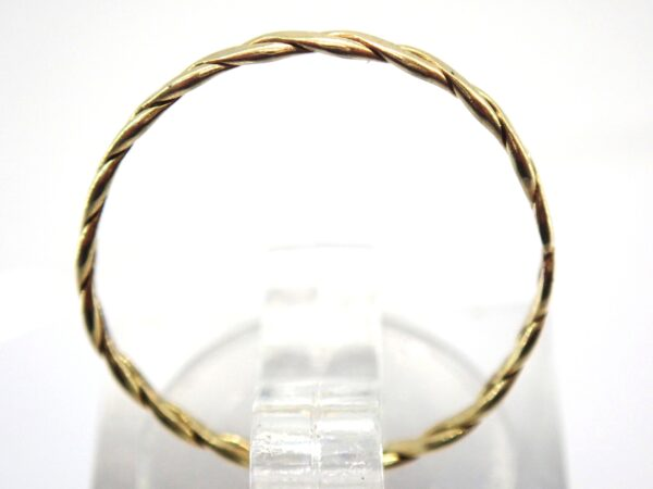 14K carat Gold Two Strand Twisted Band Signet Ring 585 – Size N  0.5g #15