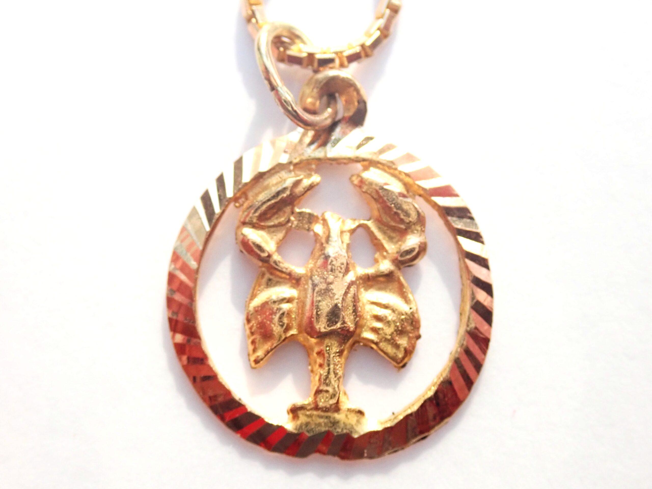 14k Solid Gold Scorpio October Star Sign Scorpion Pendant -14k 18″ Box Chain 5.6gms #150