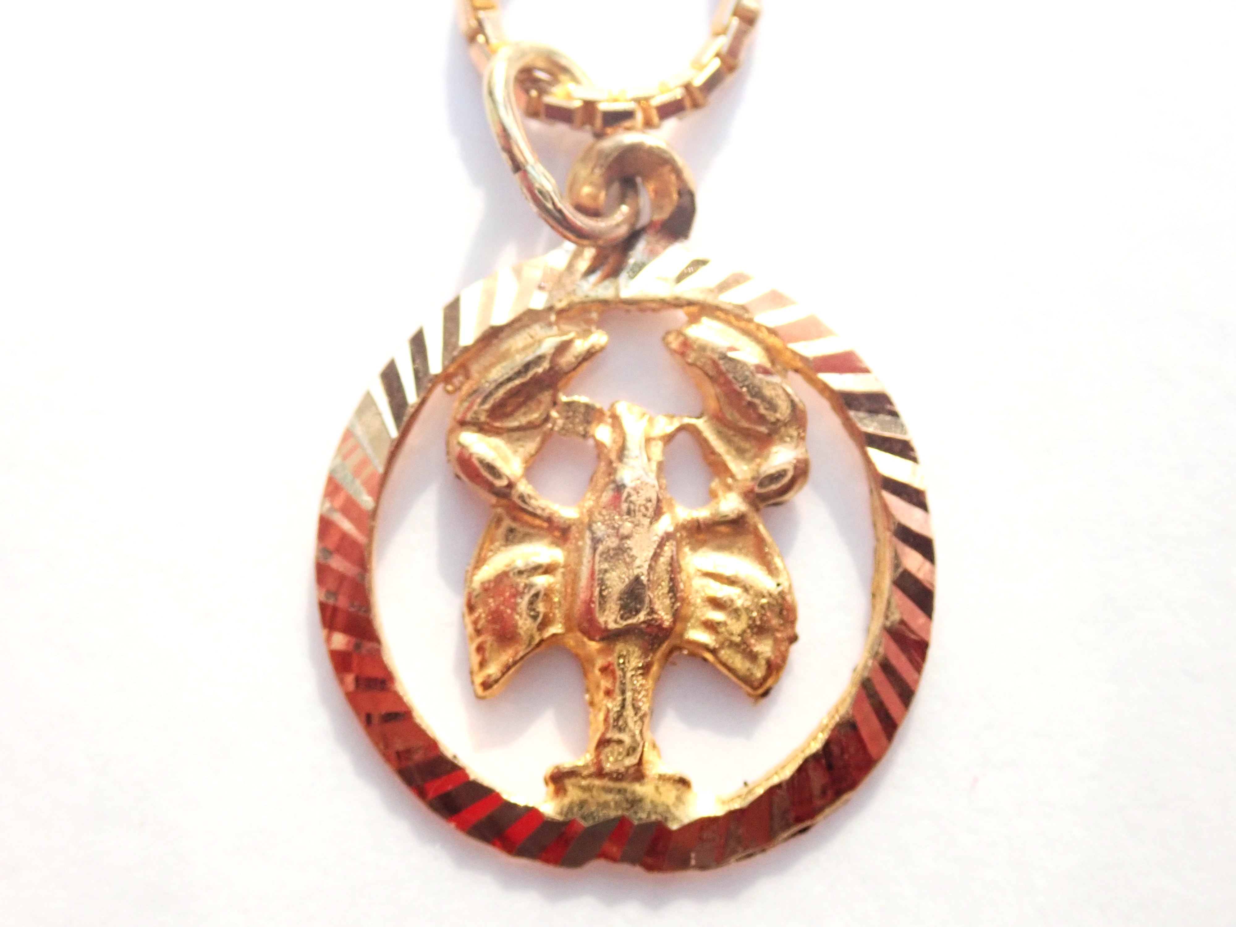 "AA000924 - 14k Solid Gold Scorpio October Star Sign Scorpion Pendant -14k 18"" Box Chain 5.6gms #150"