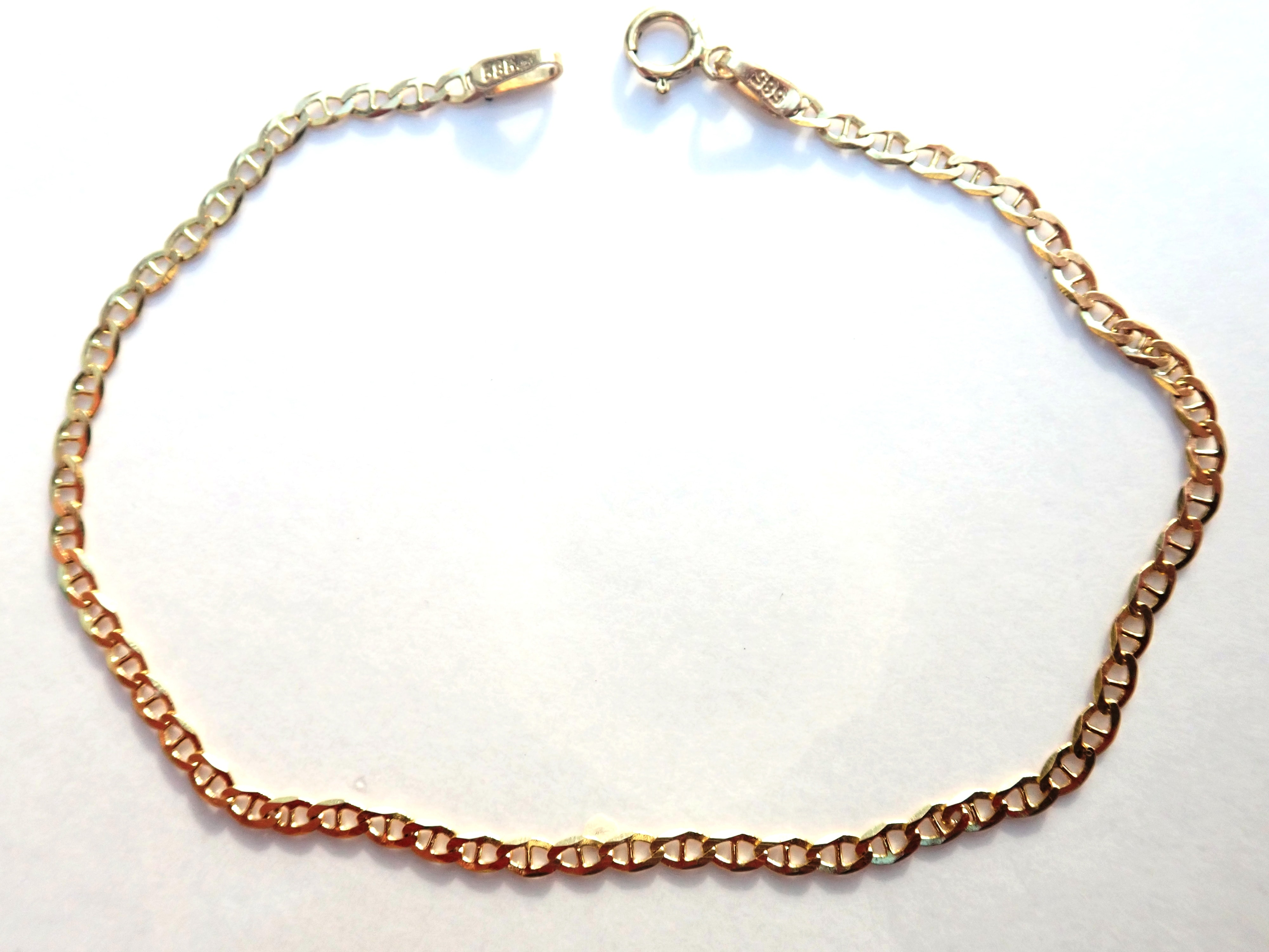 "AA000928 - 14k Gold Fancy Linked Curb Chain Linked Bracelet 7""- 1.3gms #35"