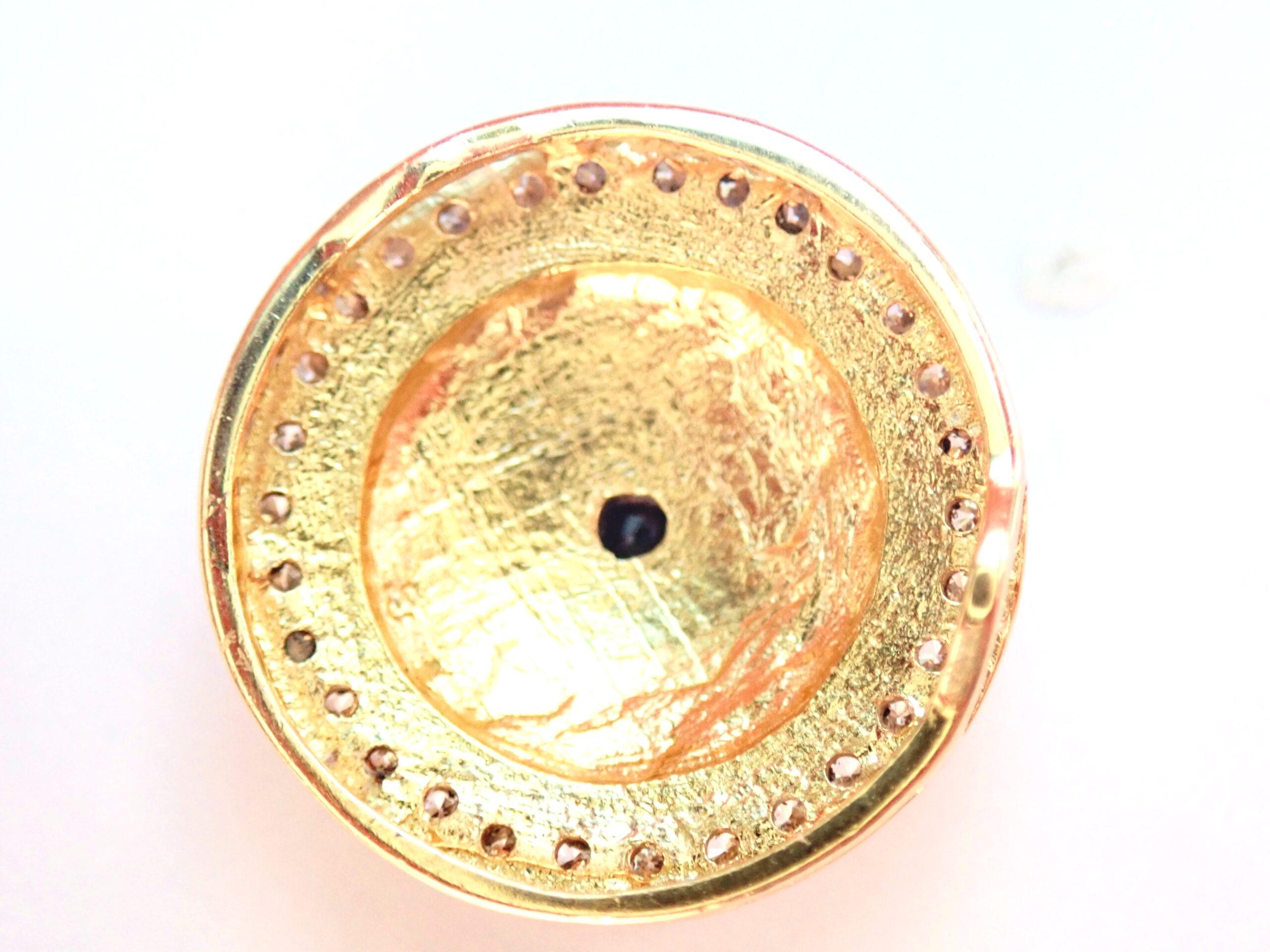 14ct Yellow Gold Diamond Sapphire  & Turquoise Good Luck Evil eye, Mati, 18 inch Box Chain – 5gms #140