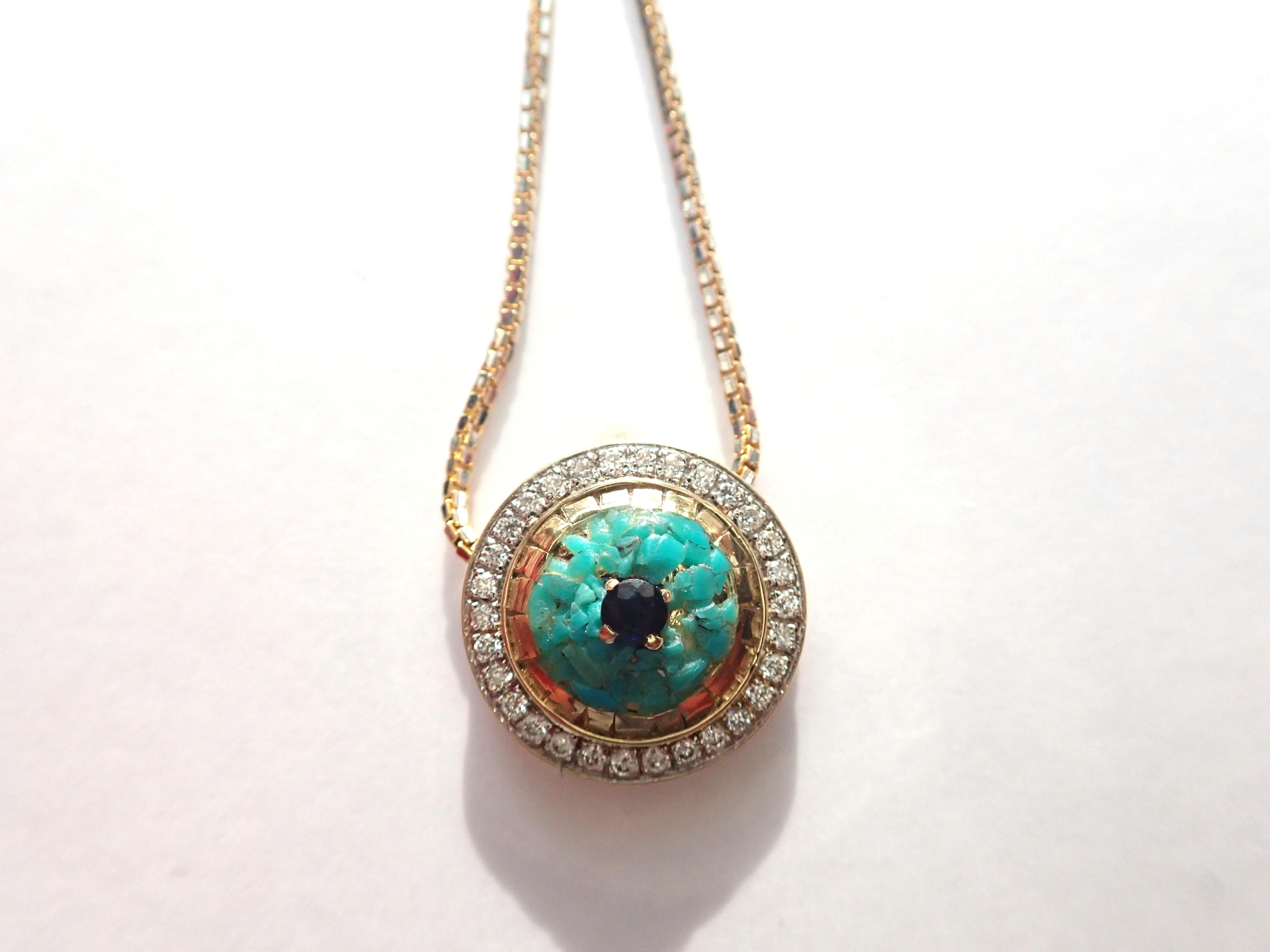 AA000943 - 14ct Yellow Gold Diamond Sapphire  & Turquoise Good Luck Evil eye, Mati, 18 inch Box Chain - 5gms #140