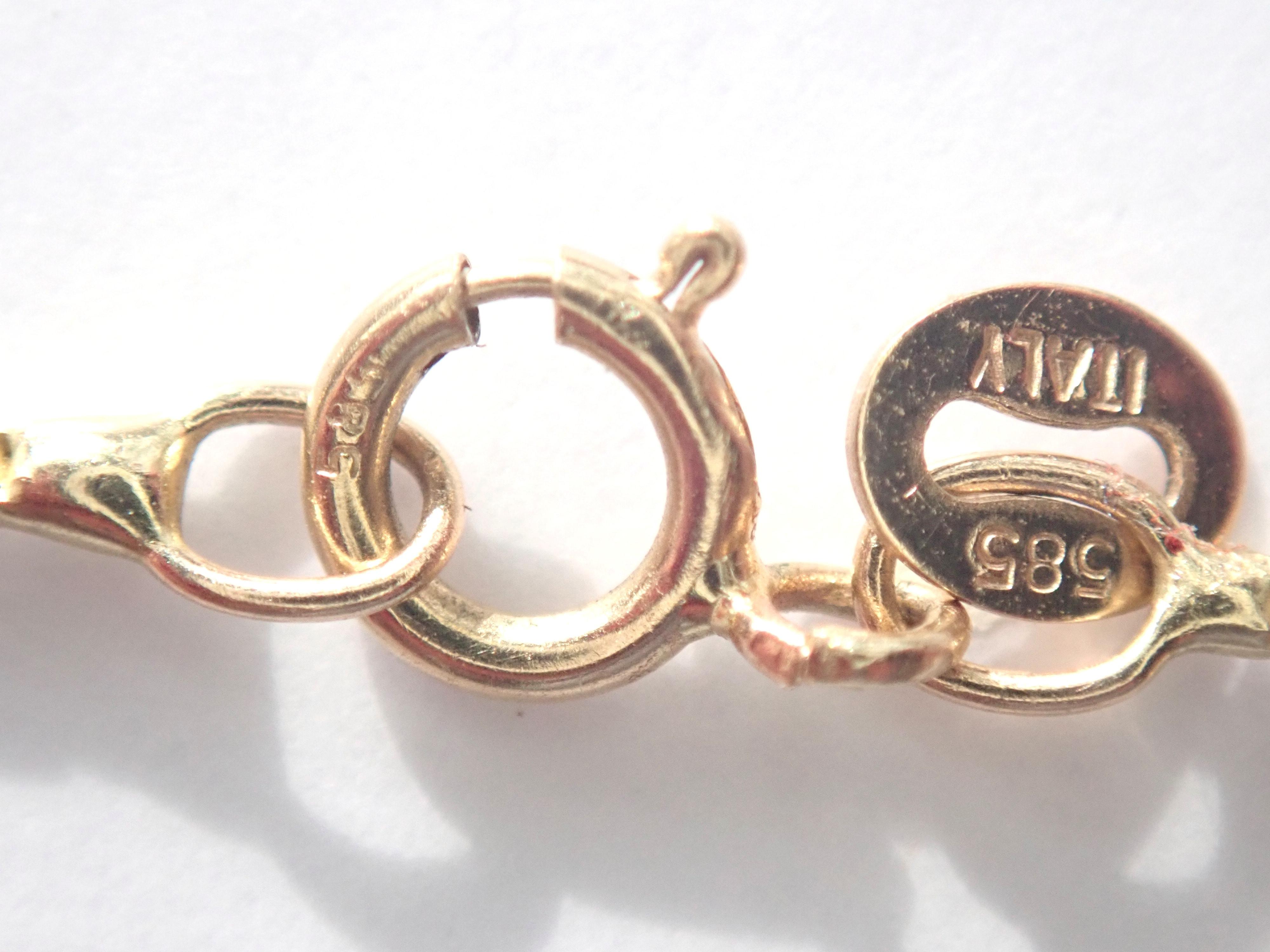 AA000944 - 14ct Yellow Gold Diamond Sapphire  & Turquoise Good Luck Evil eye, Mati, 18 inch Box Chain - 5gms #140