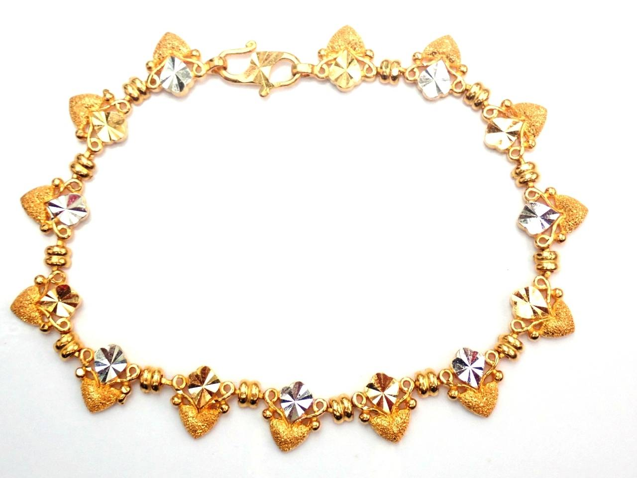 22k Solid Gold Fancy Heart Chain Bracelet 73/4