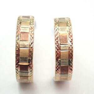 9k Tri Colour Gold Square Partnered Half Hooped Earrings 0.6gms #08