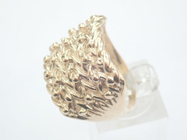 5 Row Gold keeper Ring Solid 9ct. Size S -10.4 grams