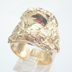 Heavy Weight Gold Saddle Ring – Solid 9ct. Size Z+1