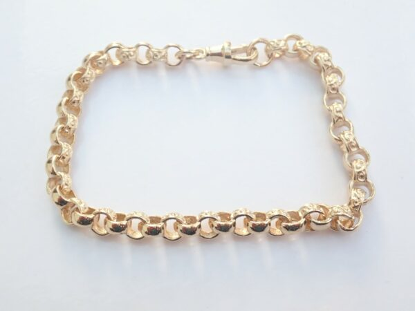 9ct Belcher Bracelet Fancy Engraved Links- Gold Chain 9″ #465