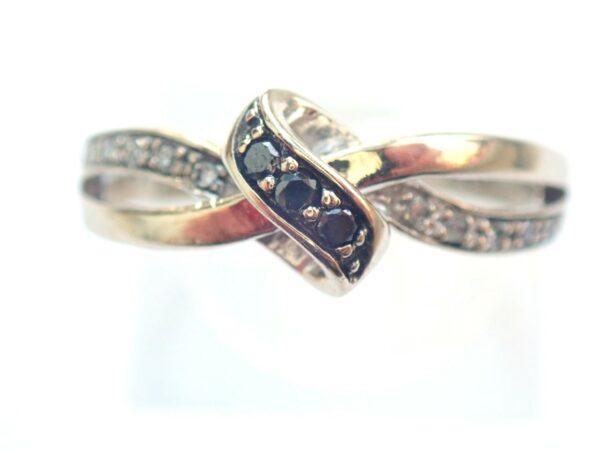 Black & White Diamond Ring- 9K White Gold Twist effect Size Q -2.2gms