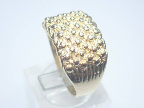 9ct Gold keeper Ring 6 Rows – Solid- Size P1/2 -8.2gms