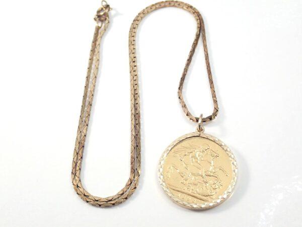 1892 Gold Full Sovereign Pendant 18″ Box chain – Queen Victoria -14.8grams