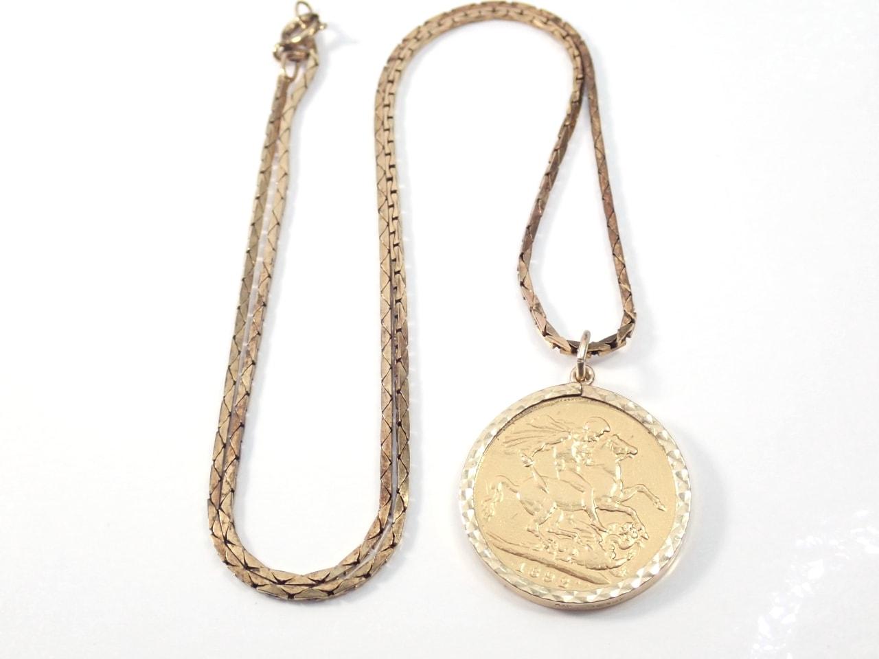 1892 Gold Full Sovereign Pendant 18 inch Box chain - Queen Victoria -14.8grams